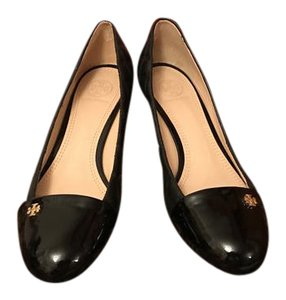 Tory Burch Patent Leather Quilted Work Office Black Wedges