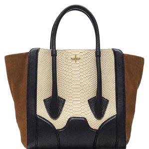 Pour La Victoire Tote In Black Leather Brown Suede Cream Snakeskin