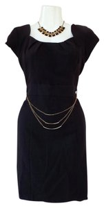 A. Byer Chain Gold Capped Sleeve Lbd Dress
