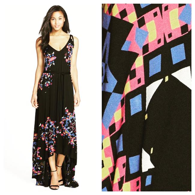 Black, Pink, Blue, White, Purple & Yellow Maxi Dress by French Connection