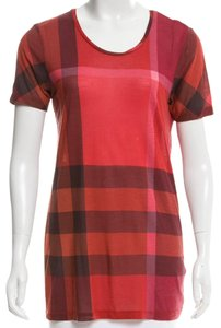 Burberry Nova Check Monogram Logo Plaid Exploded Check Top Black, Red