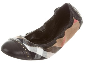 Burberry Nova Check Plaid Hardware Round Toe Studded Black, Beige, Gold Flats