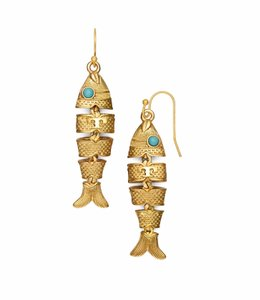 Tory Burch New Tory Burch Delicate Fish Earrings Gold / Turquoise
