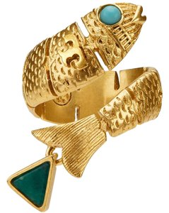 Tory Burch New Tory Burch Delicate Fish Wrap Ring Gold Turquoise O/S