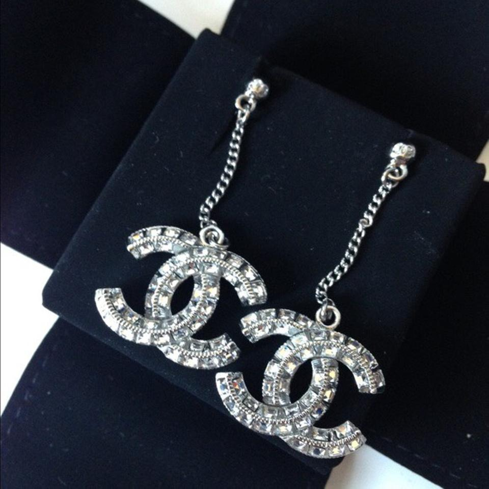 channel jewelry earrings chanel silver dangle drop earrings tradesy 2330
