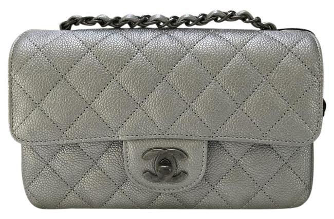 Chanel Classic Flap Mini Sliver Caviar Cross Body Bag Chanel Classic Flap Mini Sliver Caviar Cross Body Bag Image 1
