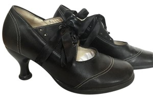 John Fluevog Lace Up Mary Jane Black Pumps