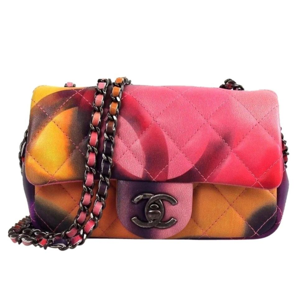 f2a2e1d0c3bd Chanel Flower Power Limited Edition Mini Cf Multicolor Lambskin Leather  Cross Body Bag