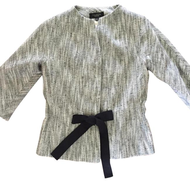 Item - Black and White Linen Blend Cropped 3 Hidden Snap Button with Grosgrain Ribbon Tie Jacket Size 2 (XS)
