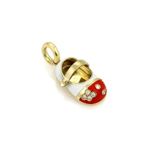 Aaron Basha Diamond Red & White Enamel Baby Shoe Charm
