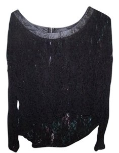 DKNY Lace Zip Summer Top blsck lace