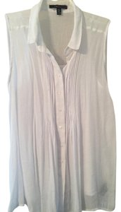 Fever Smock Pleated Button Down Shirt One White One Black