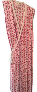 Fuchsia Pink Flowers Maxi Dress by April Cornell V-neck