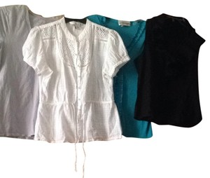 Banana Republic Top Pale Blue, White, Turquoise, Black