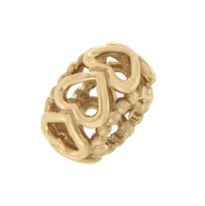PANDORA Authentic Pandora 14K Gold Lucky In Love Heart Spacer Bead Charm