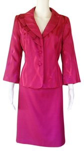 Isabella Suits ISABELLA SUITS Fuchsia Pink Silky Jacquard Skirt Suit 8