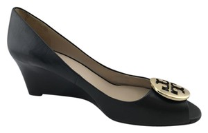Tory Burch Reva Classic Wedges Gold Hardware Black Flats