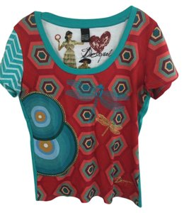 Desigual T Shirt red, turquoise