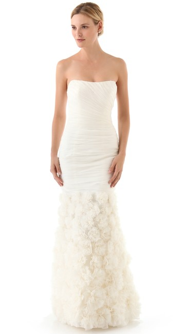 Theia Ivory Silk Strapless Rosette Gown Feminine Wedding Dress Size 2 (XS) Theia Ivory Silk Strapless Rosette Gown Feminine Wedding Dress Size 2 (XS) Image 1
