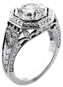 F Vs2 1.72 Cts Round Cut Vintage Engagement Ring