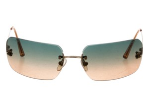 Chanel Gold-tone Chanel interlocking CC logo rimless sunglasses