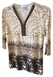 Christopher & Banks Beaded Top Cream/taupe/browns