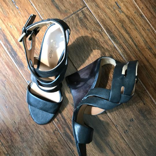 Nine West Wedges Leather Open Toe Heels black Pumps