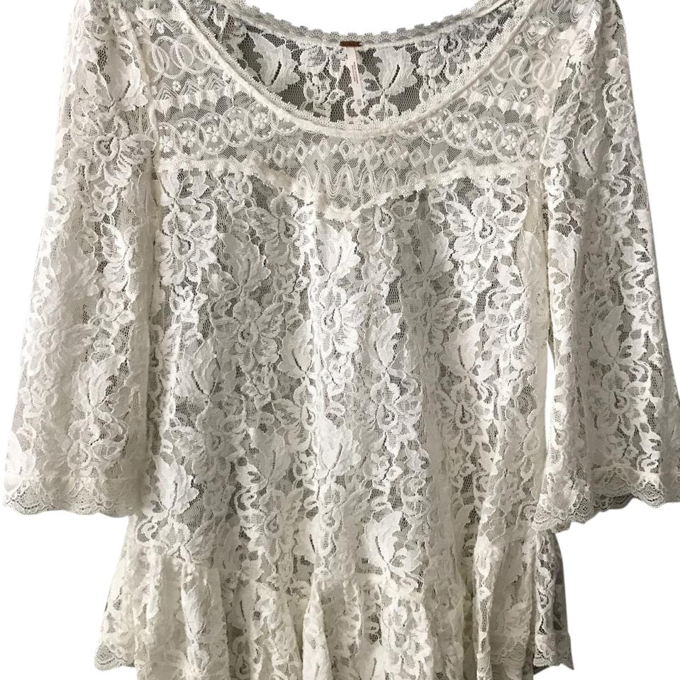60ccc490d1b Free People Cream Lace Tunic Blouse Size 4 (S) - Tradesy