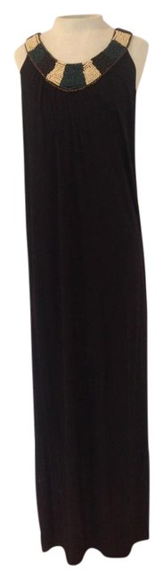 Item - Black Beaded Neckline Long Casual Maxi Dress Size 8 (M)