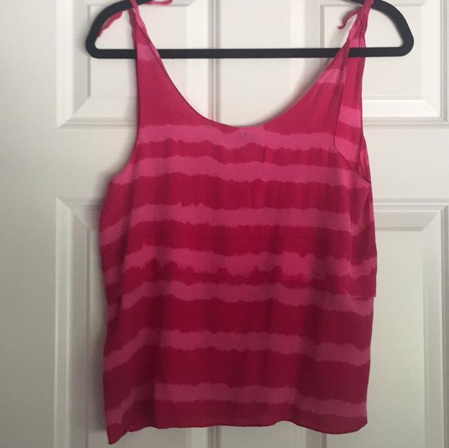Patterson J. Kincaid Tie Striped Silk Spring Top Pink & Red