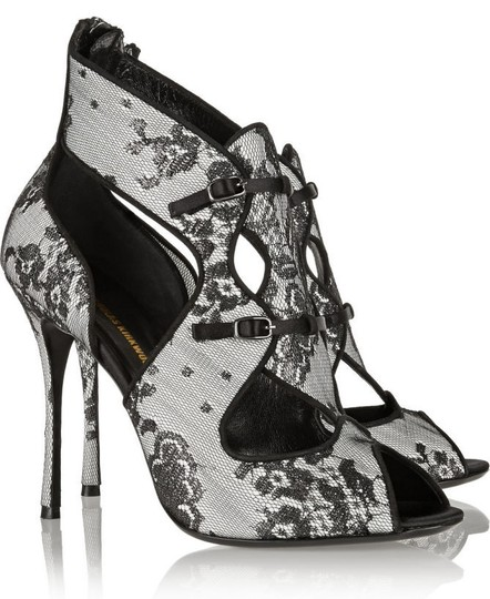 Nicholas Kirkwood Peep Toe Straps Suede Leather Sole Grey and Black Sandals