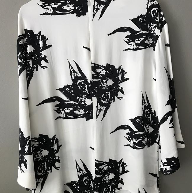 H&M Floral Print Long Sleeve Top black and white