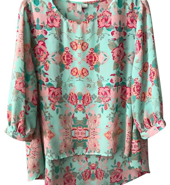 Preload https://img-static.tradesy.com/item/21330374/forever-mint-floral-print-blouse-size-6-s-0-1-650-650.jpg