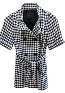 Club Monaco Trench Checkered Wool Trench Coat