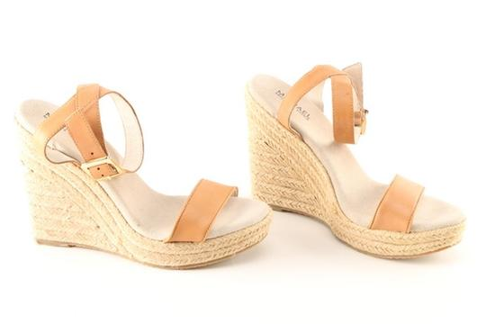Michael Kors Leather Wedge Ankle Strap brown Sandals
