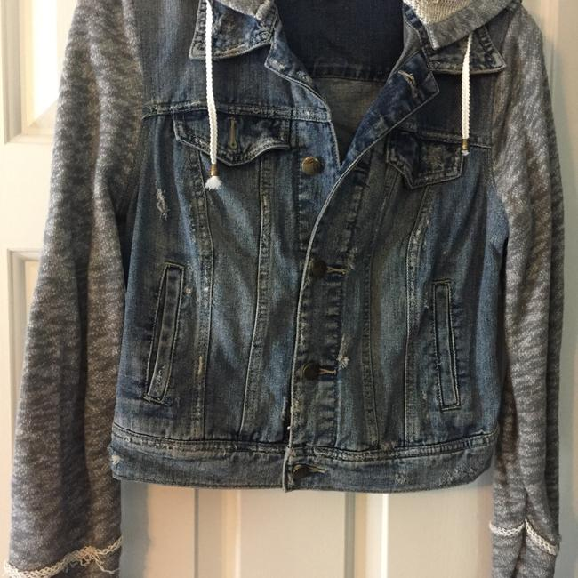 Free People Denim with knit grey/white sleeves Womens Jean Jacket