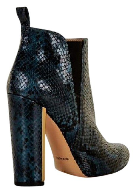Item - Blue Tilly High-heel Snake Embossed Leather Boots/Booties Size US 7.5 Regular (M, B)