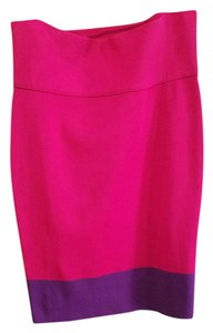 Express Color Block Bandage Pencil Skirt Red and Purple