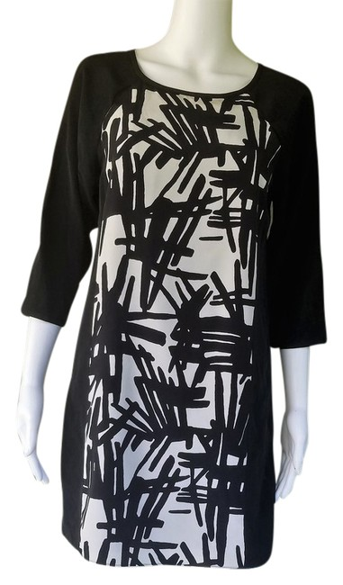 Preload https://img-static.tradesy.com/item/21330531/tibi-black-white-silky-mini-34-sleeves-short-night-out-dress-size-2-xs-0-1-650-650.jpg