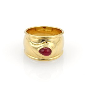 Chopard Ruby 18k Yellow Gold Tear Drop Design Wide Band Ring Size 6.5
