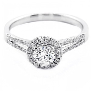 F Vs2 0.71 Cts Round Cut with Halo In 18k White Gold Engagement Ring