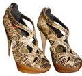 Michael Antonio Leather Snakeskin Gold Metallic Rattle Snake Platforms