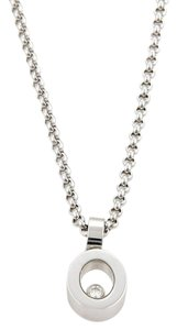 Chopard Happy Diamond 18k White Gold Oval Pendant Necklace