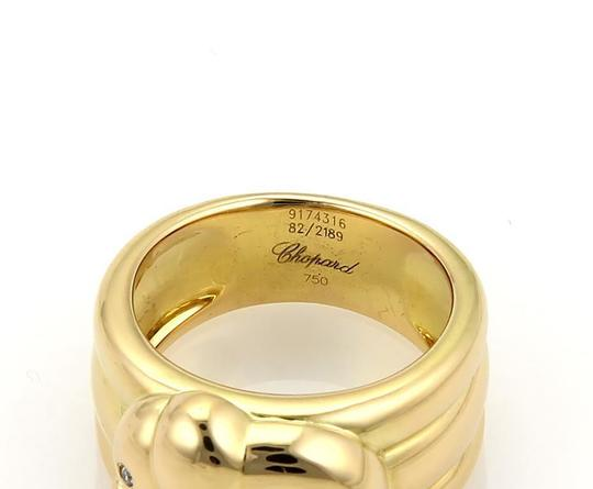 Chopard Happy Diamond 18k Yellow Gold Elephant Ribbed Band Ring Size 6.5