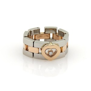 Chopard Happy Diamond 18k Rose Gold Steel Panther Link Flex Band Ring Size 7.5