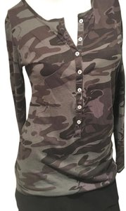 Tee Shop Print Long Sleeve Tee Front Button T Shirt Camo. various greens and purples