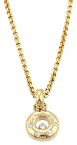 Chopard Happy Diamond 18k Yellow Gold Round Pendant & Chain Necklace