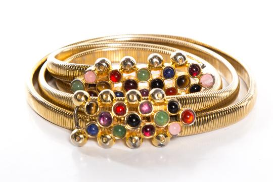 Judith Leiber Gold Metal Belt With Colorful Stones