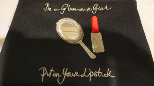 """Lulu Guinness LULU GUINESS """"BE A GLAMOUR GIRL, PUT ON YOUR LIPSTICK"""" CLUTCH MAKEUP BAG"""