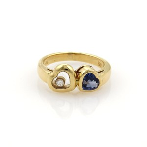 Chopard Happy Diamond 1ct Sapphire 18k Yellow Gold Double Heart Ring Size 6.5